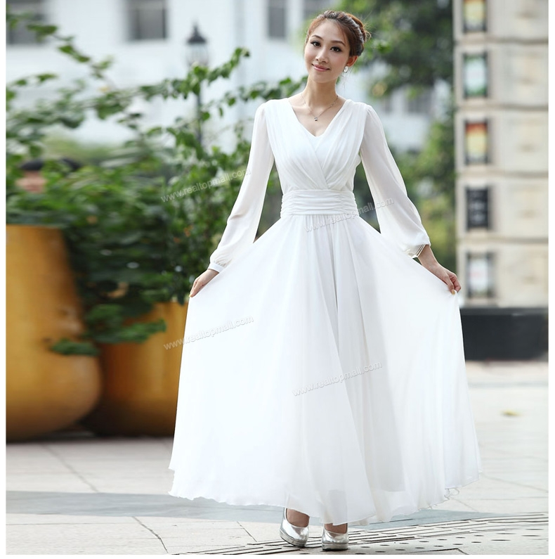 Long White Long Dresses with Sleeves