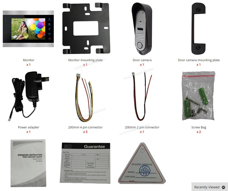 "7"" LCD Video Door Phone Intercom Door Bell Camera 800TVL Home Security Door Panel Monitoring System"