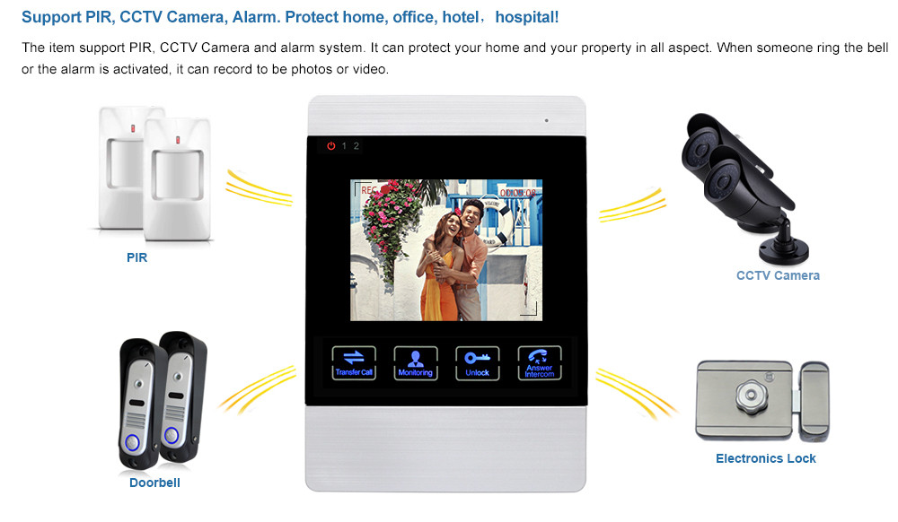 4 inch Wired Video Door Phone Door Bell System Kit Home Security Entry 2 Way Intercom IR Camera ip 65 Waterproof