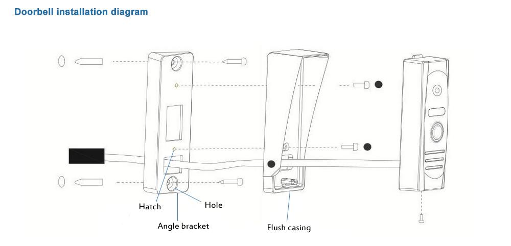 inch Wired Video Door Phone Door Bell System Kit Home Security ...