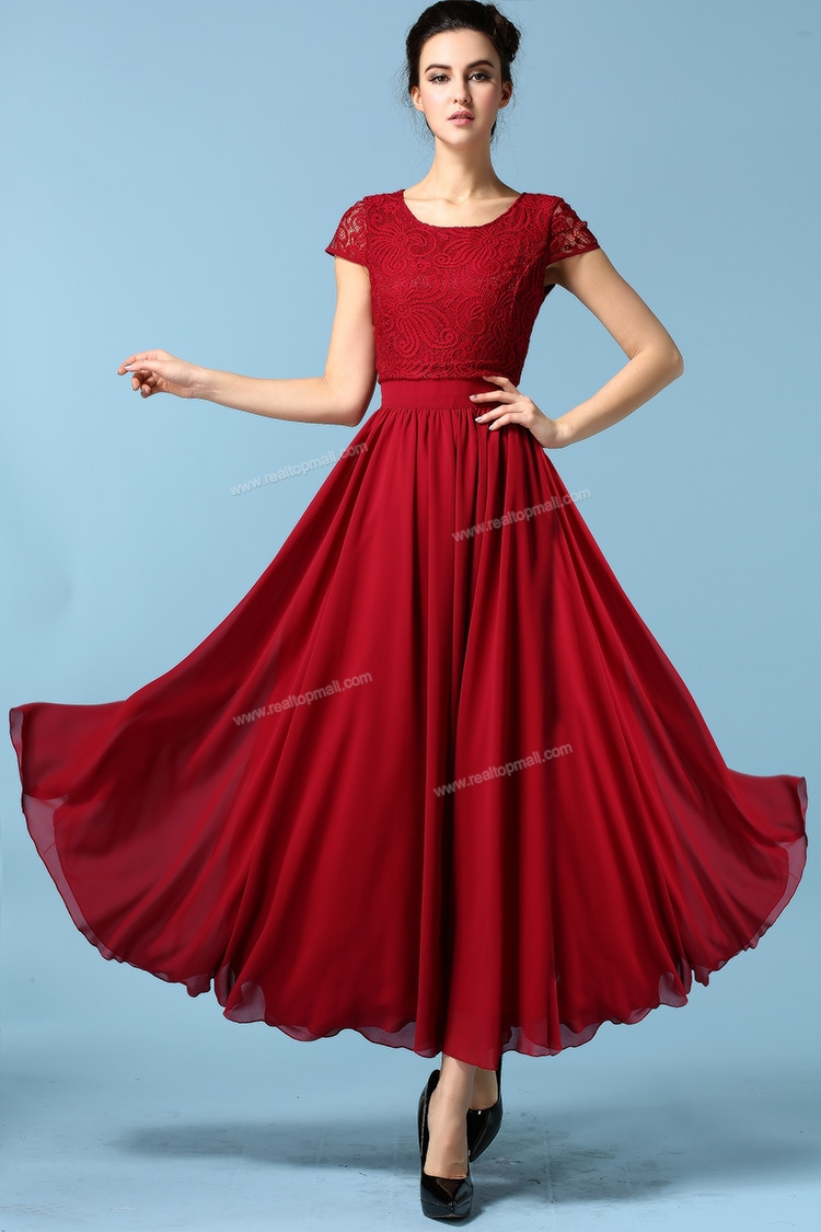 Chiffon Summer Short Lace Red Women Casual Dress Maxi Dresses